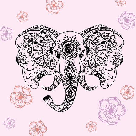 head in hands: Vector abstract elephant in Indian style mehndi.Vector hand drawing Illustration