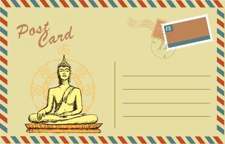 disegno a mano: Cartolina d'epoca con Buddha in meditazione, disegno a mano, vettore Vettoriali