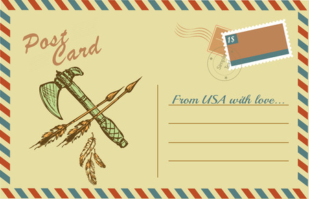 vintage postcard: Vintage postcard with native American Indian tomahawks, hand drawing,vector