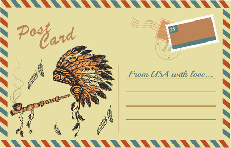 Vintage postcard with traditional Native American Peace Pipe and chief headdress, hand drawing,vector