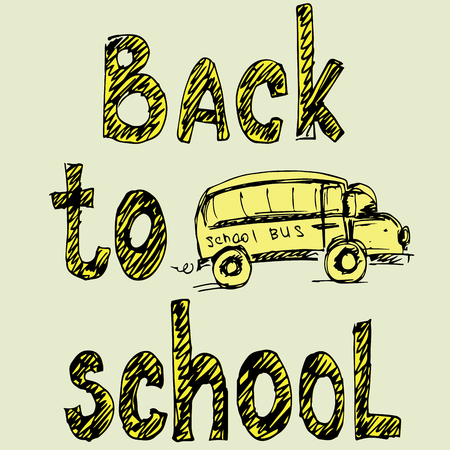 painted hands: Words Back to School and school bus, painted hands, vector illustration Illustration