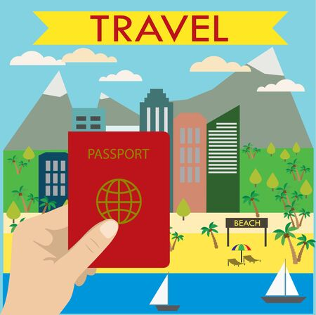 see saw: Hand holds a passport in the background beach city, Tourism and Recreation Concept. Flat design. vector illustration