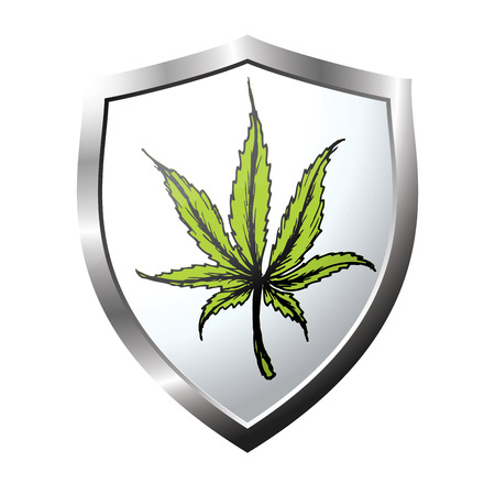ganja: web button or icon with marijuana leaf, vector