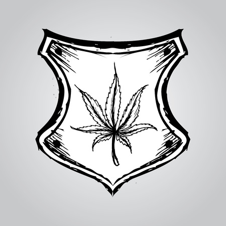 indica: web button or icon with marijuana leaf, hand drawing. vector illustration