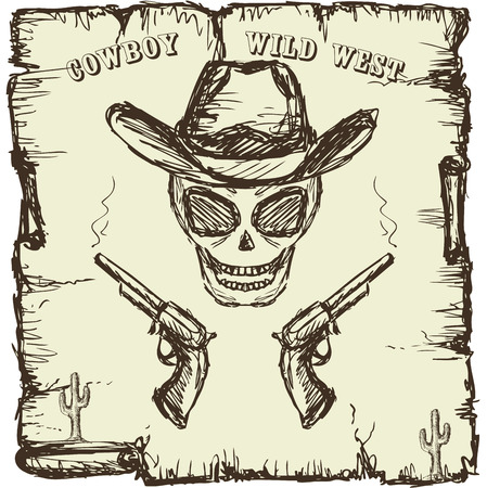 cowboy gun: Vintage style poster with  skull, revolvers and text. Hand drawing, vector.