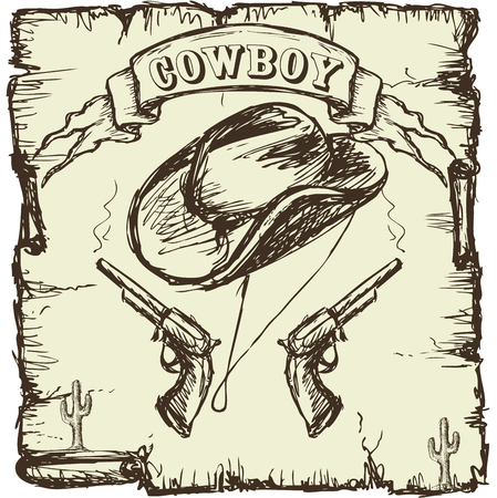 armory: Vector illustration  cowboy hat and revolvers. Hand drawing poster.