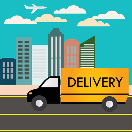 commercial painting: Delivery truck rides into town, vector illustration Illustration
