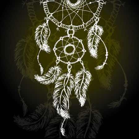 lucky man: Vector colorful illustration of dream catcher