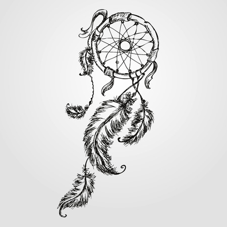 Dreamcatcher, feathers and beads. Native american indian dream catcher, traditional symbol