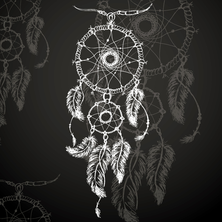 dream: Dreamcatcher, feathers and beads on black background. Native american indian dream catcher, traditional symbol