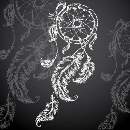 ドリーム キャッチャー、羽と黒い背景にビーズ。ネイティブ アメリカン インドのドリーム キャッチャー、伝統的なシンボル。
