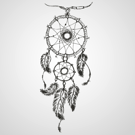 american dream: Dreamcatcher, feathers and beads. Native american indian dream catcher, traditional symbol