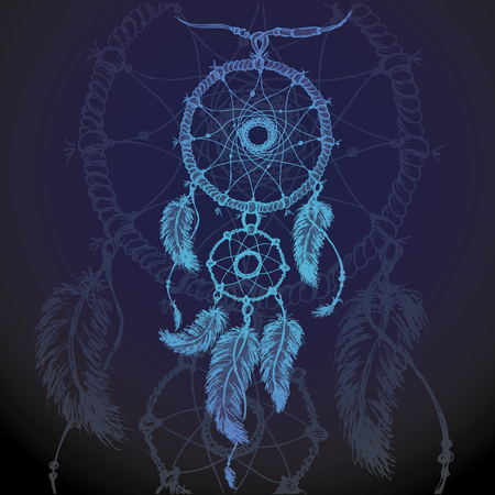 luck wheel: Vector  illustration of dream catcher