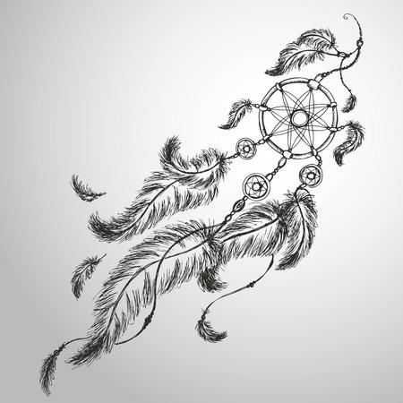 Dreamcatcher, plumas y cuentas. Nativo americano atrapasueños indio, símbolo tradicional Ilustración de vector