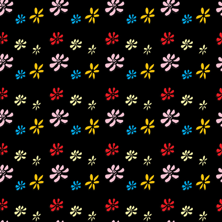heyday: Seamless pattern flower on black. Hand drawing.Seamless pattern can be used for wallpaper, pattern fills, web page backgrounds, surface textures