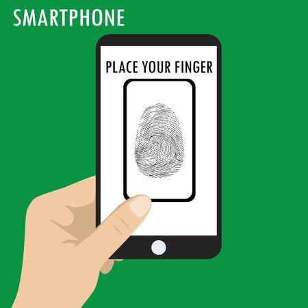 palmtop: Hand holding smart phone, phone scanning a fingerprint