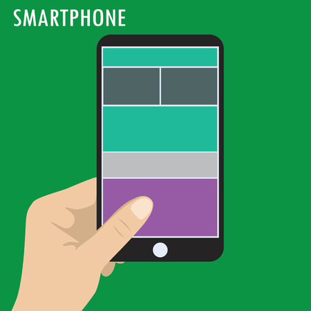 holding smart phone: Hand holding smart phone, flat, vector illustration