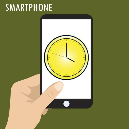 hand holding smart phone: Hand holding smart phone, the icon clock on the screen