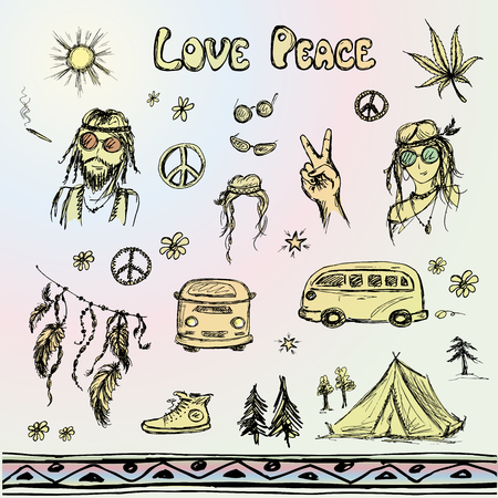 hippie: Hand drawn hippie set, sketchy design. Vector