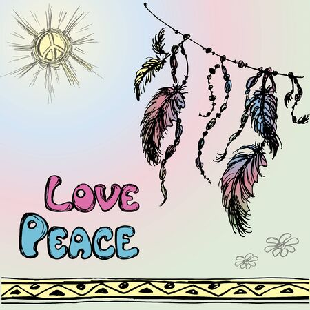 webbing: Dreamcatchers  and the words - love, peace. Hand drawing. Vector illustration Illustration