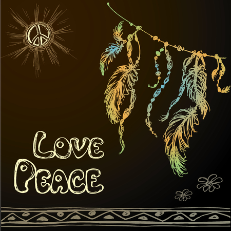 webbing: Dreamcatcher against a black background and the words - love, peace. Hand drawing. Vector illustration Illustration