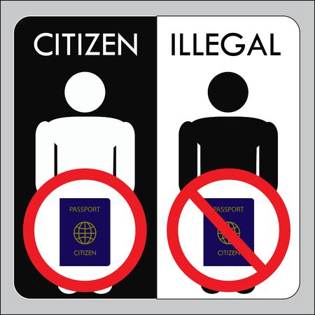 seeker: A citizen with a passport and illegal undocumented, vector illustration Illustration