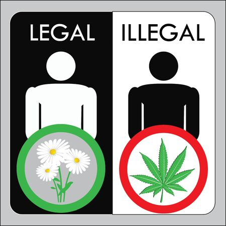 reefer: Man illegal marijuana and man with legal flowers, vector illustration Illustration