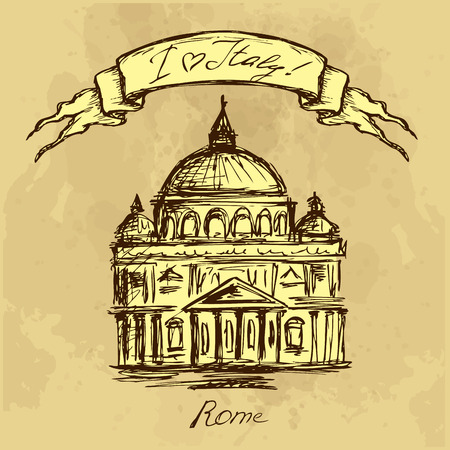 rome italy: hand drawn Basilica di San Pietro, Vatican, Rome, Italy. Vector