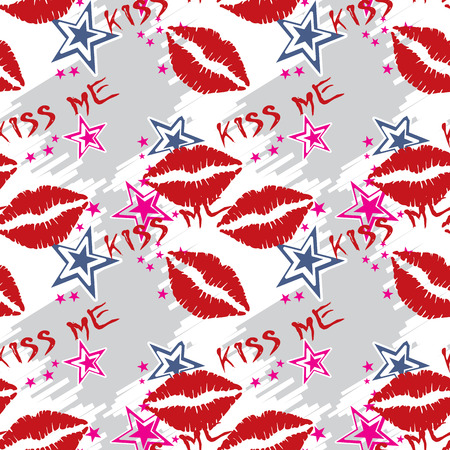 pucker: Seamless pattern  red lips with stars. Seamless pattern can be used for wallpaper, pattern fills, web page backgrounds, surface textures