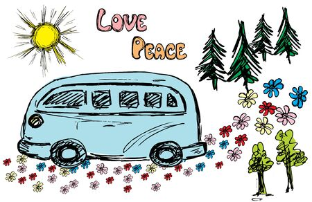 woodstock: Hippie van traveling on the road flower, vector illustration