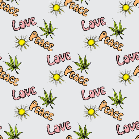 indica: Seamless pattern Cannabis Leaf and sun . Hand drawing.Seamless pattern can be used for wallpaper, pattern fills, web page backgrounds, surface textures