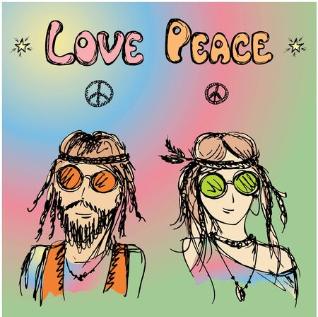 Friendly couple  hippie with long hair , vector illustration 向量圖像
