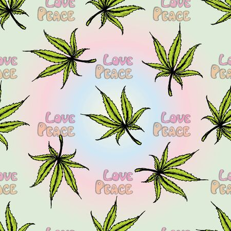 Seamless pattern Cannabis Leaf . Hand drawing.Seamless pattern can be used for wallpaper, pattern fills, web page backgrounds, surface textures