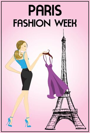 fashion week: shopping girl in paris fashion week, vector illustration Illustration