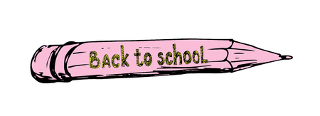 first day of school: Hand drawing pencil vector illustration. First day of school. Back to school