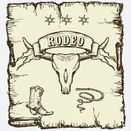 bull pen: Retro style Rodeo  poster with longhorn skull, ribbon banner and sample text on it.