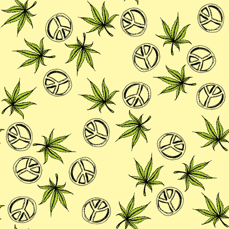 Seamless pattern cannabis and Pacific a symbol of the hippie . Hand drawing.Seamless pattern can be used for wallpaper, pattern fills, web page backgrounds, surface textures