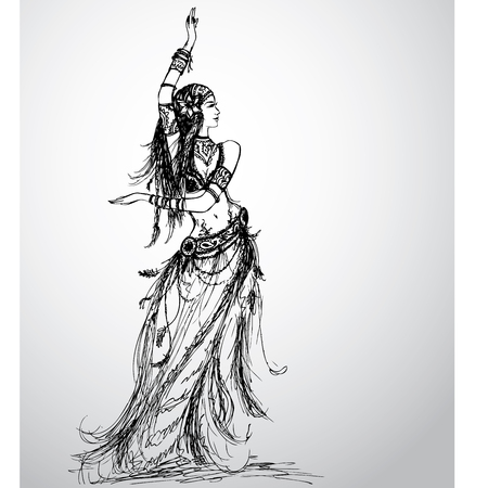 Dancing girl, tribal, hand drawing. Vector illustration.