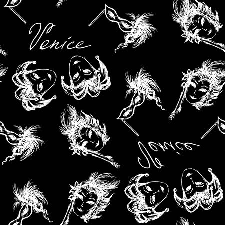 venice carnival: Seamless pattern venice carnival mask on black. Hand drawing.Seamless pattern can be used for wallpaper, pattern fills, web page backgrounds, surface textures