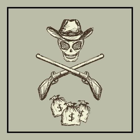 old poster: Skull wearing a cowboy hat, two guns and bags of money. Wild West. vector Illustration