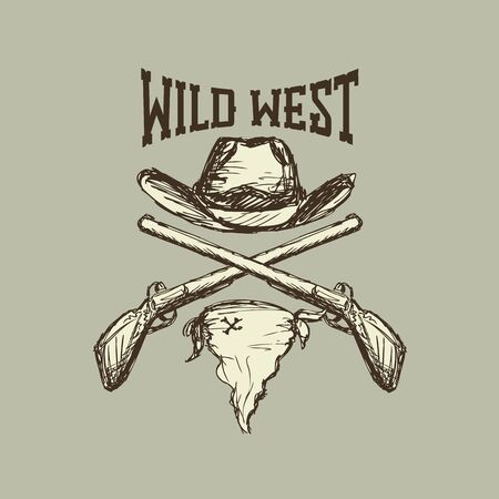 Cowboy hat and scarf,gun, wild west, eps 10