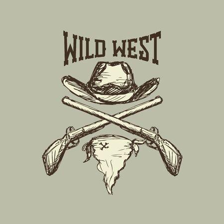 bandana western: Cowboy hat and scarf,gun, wild west, eps 10
