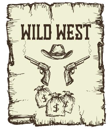 cowboy gun: Vintage western  poster.  vector illustration.
