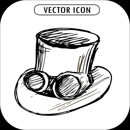 steampunk goggles: steampunk top hat and brass goggles, hand drawn vector illustration.