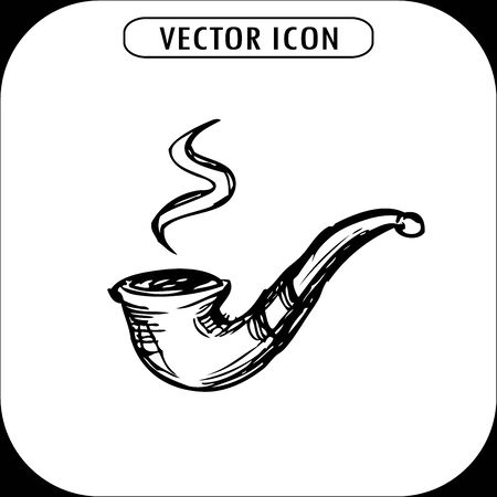 tobacco product: vintage pipe, hand drawn,vector icon