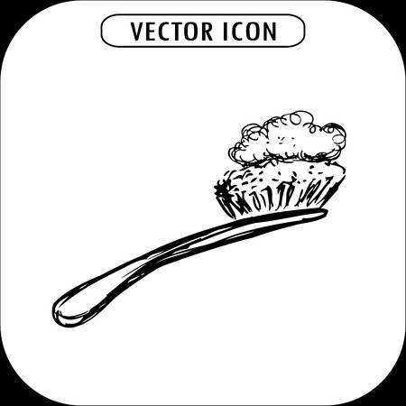 personal grooming: toothbrush with a toothpaste, hand drawn icon, vector