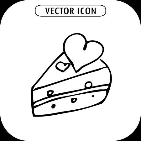 porcion de pastel: cake with hearts, hand drawing, vector icon
