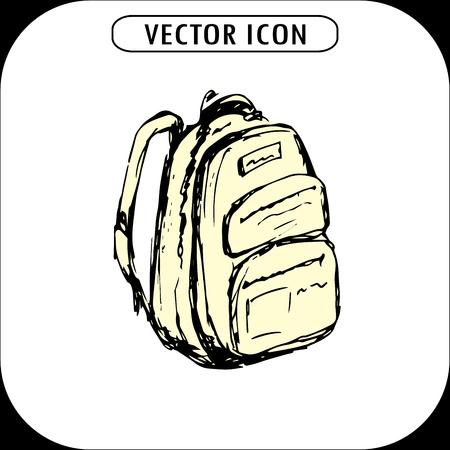 zaino scuola: School backpack ,hand drawn icon , illustration Vettoriali