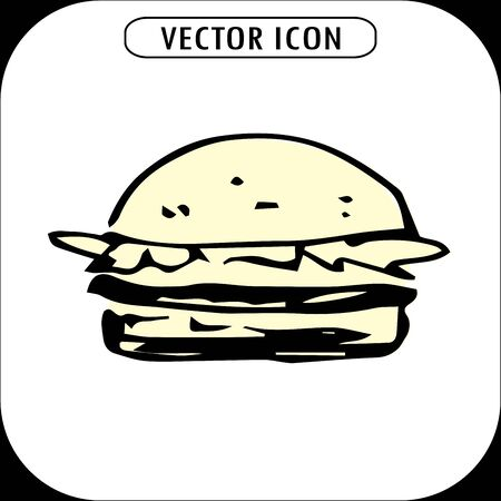 lunchroom: hamburger, hand drawn icon ,vector llustration