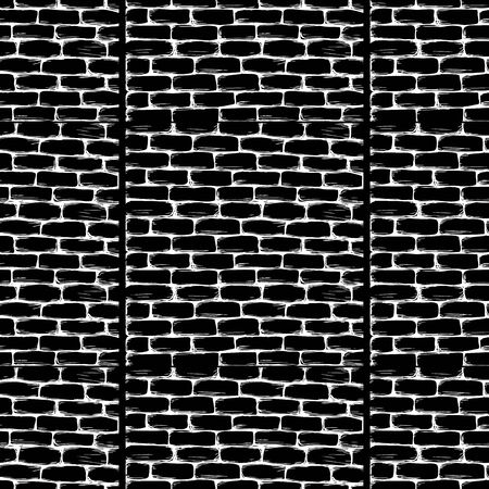 bakstenen muur: Brick wall on black seamless pattern. Vector illustration. Stock Illustratie